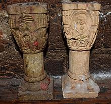 A pair of composite candlesticks depicting the birth of Christ