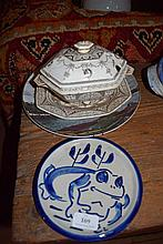 A Royal Doulton display plate, a frog plate, and others