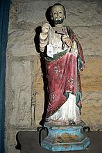 A timber carved religious figure