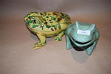 A glazed lidded frog container plus another glazed frog