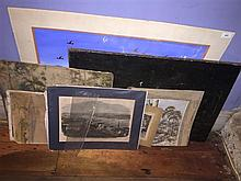 A collection of seven assorted unframed artworks