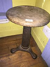 A Singer cast iron and timber adjustable stool