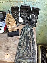 A small Buddhist portable shrine together with plaque and replica stone figure