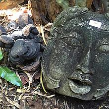 Two Asian decorative heads