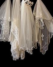 A Collection of Four Vintage Wedding Veils along with a Wedding cap