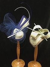 A Pair of Handcrafted Straw Raceday Hats