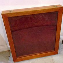 A Large Timber and Metal Portable Display Case with Glass Front