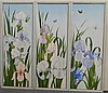 L de Gallegos Irises triptych Acrylic on board