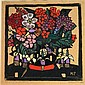 Margaret Rose Preston (1875-1963) Fuchsia etc 1928 Handcoloured woodcut ed. 50th & last proof