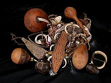 A Box of Lime Gourds and Miscellaneous Ornaments