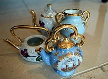 Four Limoges miniature porcelain teapots and vase: this item is located at 83 / 6 Hale Road Mosman