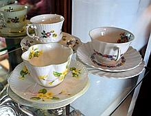 Three assorted trios, Shelley, Royal Doulton & Elizabethan