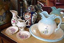 A miniature porcelain wash basin and jug set with four assorted jugs, jars and vases (AF)