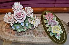 A Capodimonte floral centrepiece withmatching wall plaque: this item is located at 83 / 6 Hale St Mosman