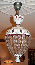 A Bohemian overlay glass and crystal basket chandelier