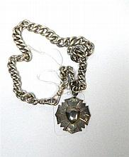 A Sterling Silver Curb Albert Chain with Shield