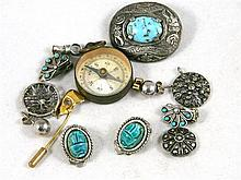 A Collection of Jewellery including turquoise earrings, marcisite pendants and a compass