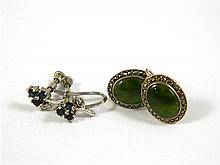 A Pair Of Silver Nephrite and Marcasite Earrings with a silver plate pair of Sapphire Earrings