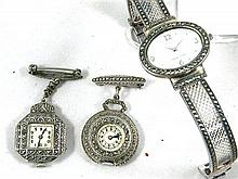 Two Marcasite Fob watches and one wrist watch