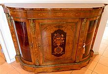 A superb Victorian Burr Walnut three door credenza,