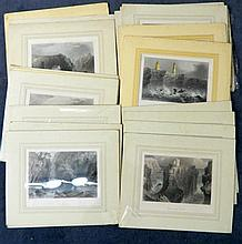 William Henry Bartlett (1809-1854) British After, 18 Various British Scenes + 1 JD Harding (19) Handcoloured steel engravings variou...
