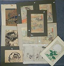 Japanese School various woodblock prints & watercolours (10)