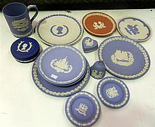A collection of Wedgewood jasperware Brisish Royal commemorative pieces (15)