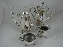 A four piece electroplate tea and coffee set