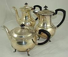 A three piece silver plated tea set