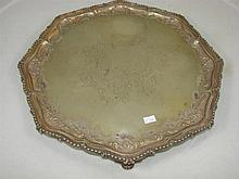 An antique silver plated tray