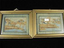 A pair of small framed antique cork pictures
