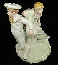 Antique Worcester figural group impressed mark to base date code for 1880