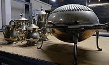 A silver plate tea service (4 pieces) along with a silver plate breakfast egg