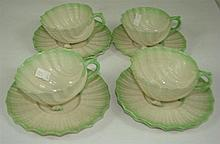 Belleek shell form 4 cups and 6 saucers, Black mark