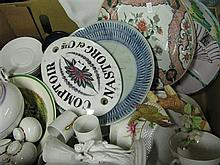 A box of antique and modern china