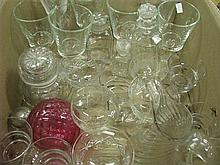A box of crystal and glassware including a jug
