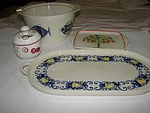 A collection of Villeroy & Boch platters, bowl and mustard pot