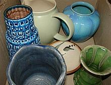 Collection of pottery items including Australian