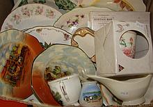 A box of English ceramics including Minton, Royal Doulton and Crown Devon