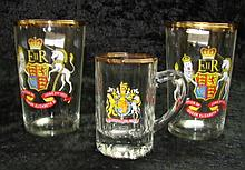 Three Queen Elizabeth II Coronation glasses