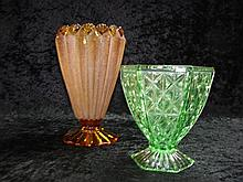 Two depression glass vases