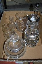 Quantity of crystal decanter, carafes, oil and vinegar bottles etc