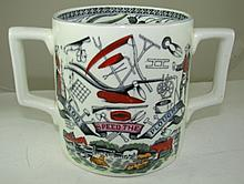 A vintage ceramic 'God Speed the Plough' twin handled mug