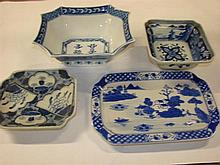 Four Chinese blue and white bowls and plates