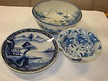 Two Chinese ceramic blue and white bowls and a plate