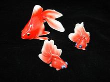 Noritake studio figure of a gold fish together with two similar smaller goldfish
