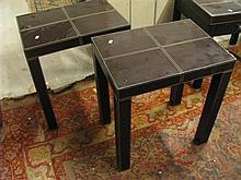 Two leather side tables