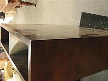 A large wooden coffee table