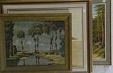 7 various framed paintings landscapes etc