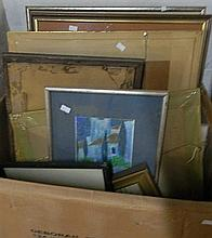 A box of 16 various prints & watercolours mainly landscapes